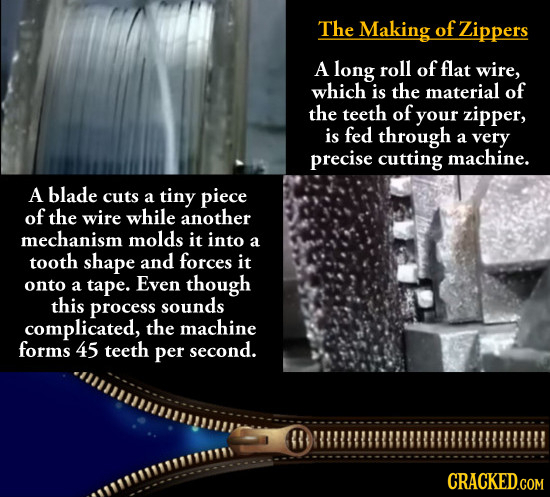 The Making of Zippers A long roll of flat wire, which is the material of the teeth of your zipper, is fed through a very precise cutting machine. A bl