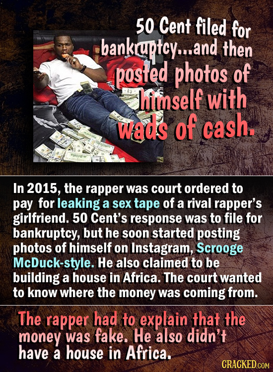 50 Cent filed for bankraptcy... and then posifed photos of himself with wads of cash. In 2015, the rapper was court ordered to pay for leaking a sex t