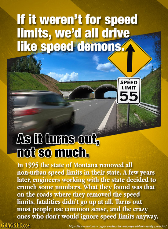 If it weren't for speed limits, we'd all drive like speed demons. SPEED LIMIT 55 As it turns out, not SO much. In 1995 the state of Montana removed al