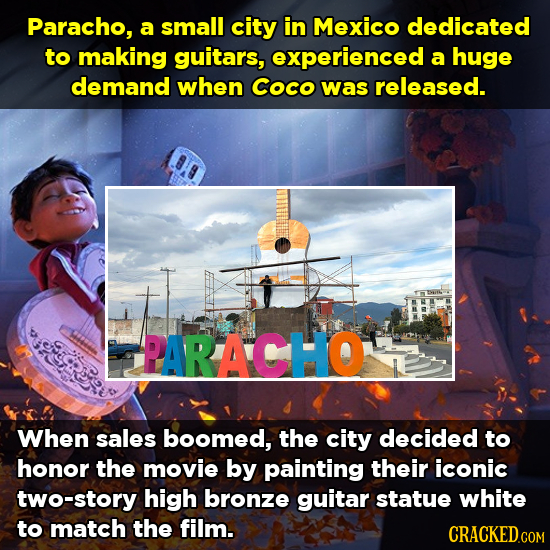 Paracho, a small city in Mexico dedicated to making guitars, experienced a huge demand when Coco was released. PARACHO When sales boomed, the city dec
