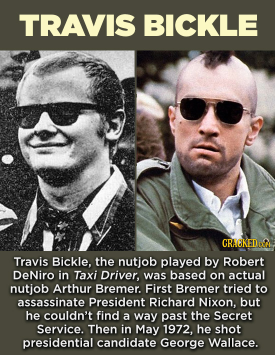 20 Characters You Never Realized Are Based On Real People - Travis Bickle, the nutjob played by Robert DeNiro in Taxi Driver, was based on actual nutj