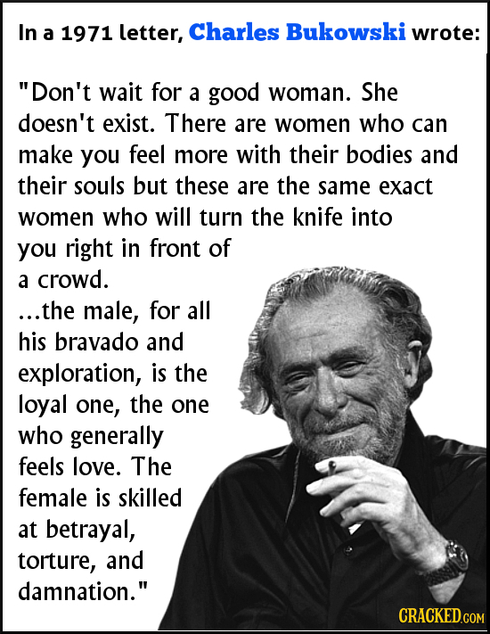 In Charles a 1971 letter, Bukowski wrote: Don't wait for a good woman. She doesn't exist. There are women who can make you feel more with their bodie
