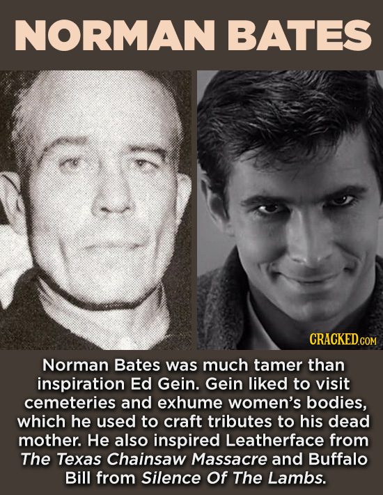 20 Characters You Never Realized Are Based On Real People - Norman Bates was much tamer than inspiration d Gein. Gein liked to visit cemeteries and ex