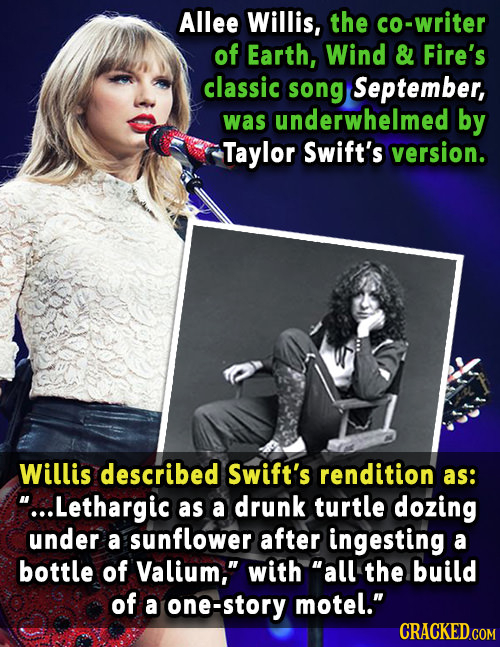 Allee Willis, the co-writer of Earth, Wind & Fire's classic song September, was underwhelmed by Taylor Swift's version. Willis described Swift's rendi