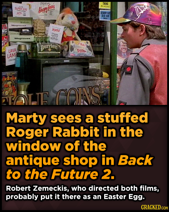 TWIOS Fates SuPeR-s Hape 0 Av 12 OLD AE AC 192 oha perrler LAVA LAMP uit CAINS TAT.TF Marty sees a stuffed Roger Rabbit in the window of the antique s