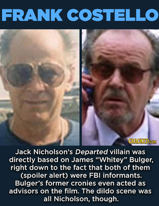 "20 Characters You Never Realized Are Based On Real People - Jack Nicholson's Departed villain was directly based on James ""Whitey"" Bulger, right down"