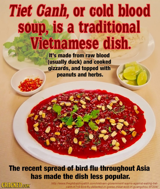 Tiet Canh, or cold blood soup, is a traditional Vietnamese dish. It's made from raw blood (usually duck) and cooked gizzards, and topped with peanuts