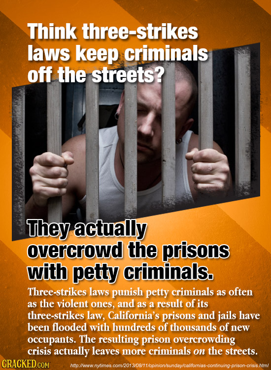 Think three-strikes laws keep criminals off the streets? They actually overcrowd the prisons with petty criminals. Three-strikes laws punish petty cri