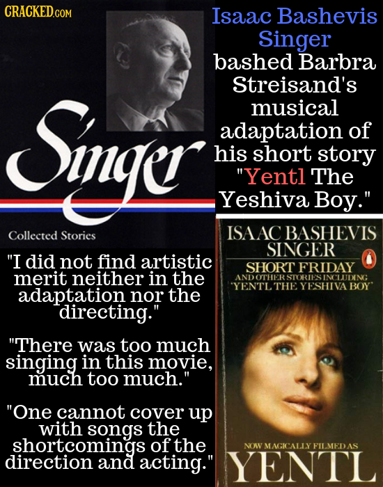 CRACKEDG Isaac Bashevis Singer bashed Barbra Sigge Streisand's musical adaptation of his short story Yentl The Yeshiva Boy. Collected ISAACBASHEVIS