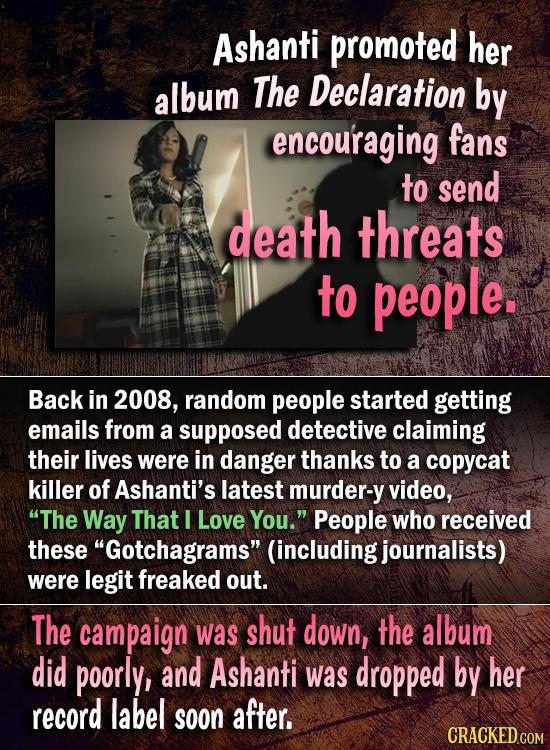 Ashanti promoted her album The Declaration by encou'raging fans to send death threats to people. Back in 2008, random people started getting emails fr