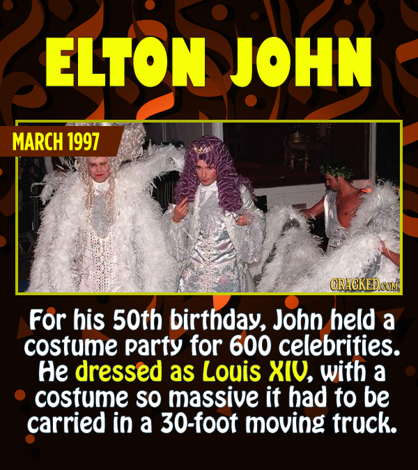 15 Epic Feats of Partying by Famous People - For his 50th birthday, John held a costume party for 600 celebrities. He dressed as Louis XIV, with a cos