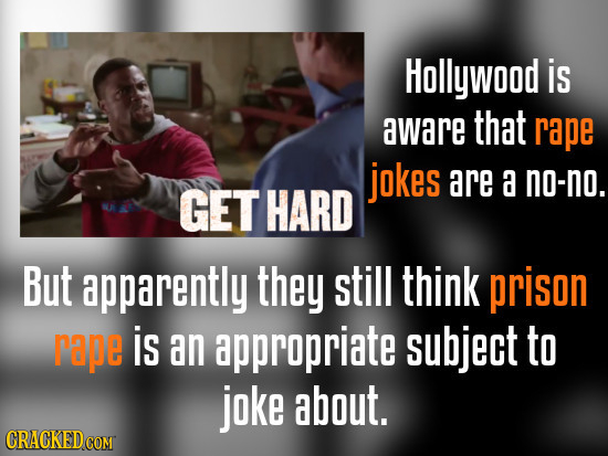 Hollywood is aware that rape jokes are a no-no. GET HARD But apparently they still think prison rape is an appropriate subject to joke about.