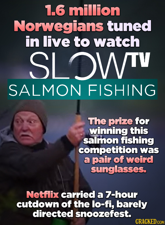 1.6 million Norwegians tuned in live to watch SLOWTV SALMON FISHING The prize for winning this salmon fishing competition was a pair of weird sunglass