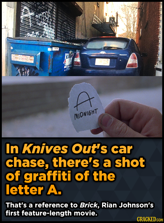 A MIDNIGHT In Knives Out's car chase, there's a shot of graffiti of the letter A. That's a reference to Brick, Rian Johnson's first feature-length mov
