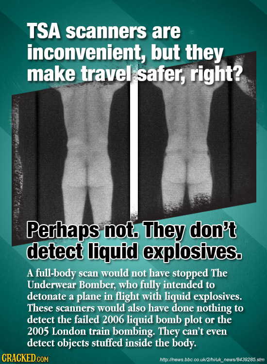 TSA scanners are inconvenient, but they make travel safer, right? Perhaps not. They don't detect liquid explosives. A full-body scan would not have st