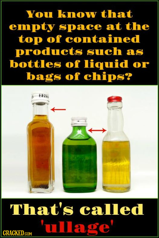 You know that empty space at the top of contained products such as bottles of liquid or bags of chips? ER2b That's called 'ullage'