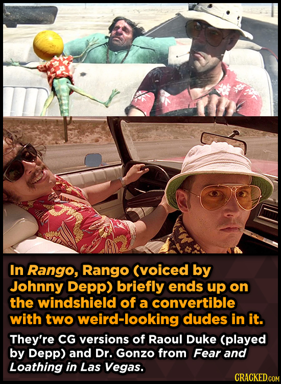 In Rango, Rango (voiced by Johnny Depp) briefly ends up on the windshield of a convertible with two weird-looking dudes in it. They're CG versions of