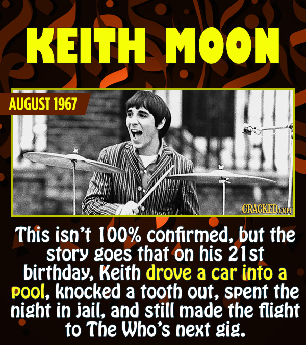 15 Epic Feats of Partying by Famous People - This isn't 100% confirmed, but the story goes that on his 21st birthday, Keith drove a car into a pool, k