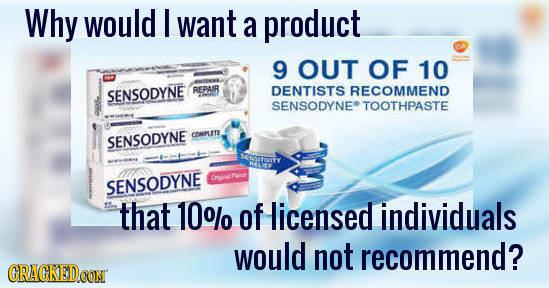 Why would I want a product 9 OUT OF 10 RECOMMEND SENSODYNE REPAUR DENTISTS SENSODYNE TOOTHPASTE OOREPUETE SENSODYNE RNSTOTY Onh SENSODYNE that 10% of