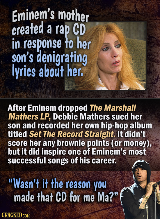 Eminem's mother created a rap CD in response to her son's denigrating lyrics about her. After Eminem dropped The Marshall Mathers LP, Debbie Mathers s