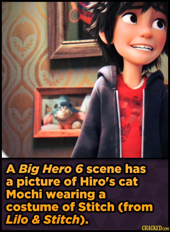 A Big Hero 6 scene has a picture of Hiro's cat Mochi wearing a costume of Stitch (from Lilo & Stitch).