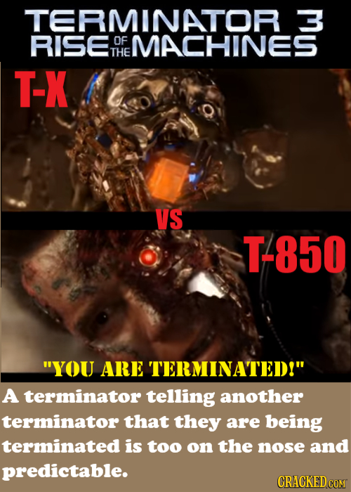 TERMINATOR RISE OF MACHINES THE T-X VS T-850 YOU ARE TERMINATED! A terminator telling another terminator that they are being terminated is too on th
