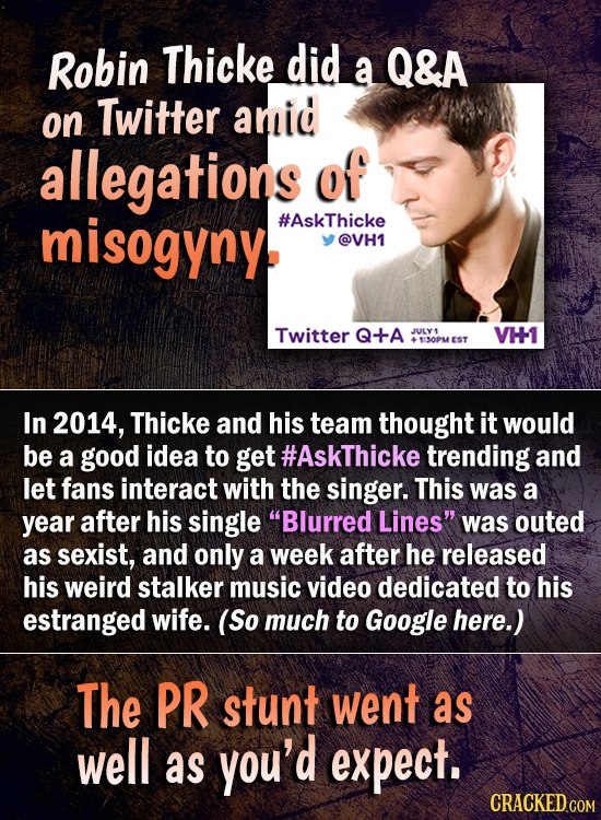 Robin Thicke did a Q&A on Twitter amid allegations of misogyny #AskThicke @VH1 Twitter Q+A JJULY VH 113OPMEST In 2014, Thicke and his team thought it