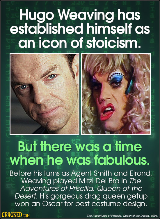 Hugo Weaving has established himself as an icon of stoicism. But there was a time when he 8I was fabulous. Before his turns as Agent Smith and Elrond,