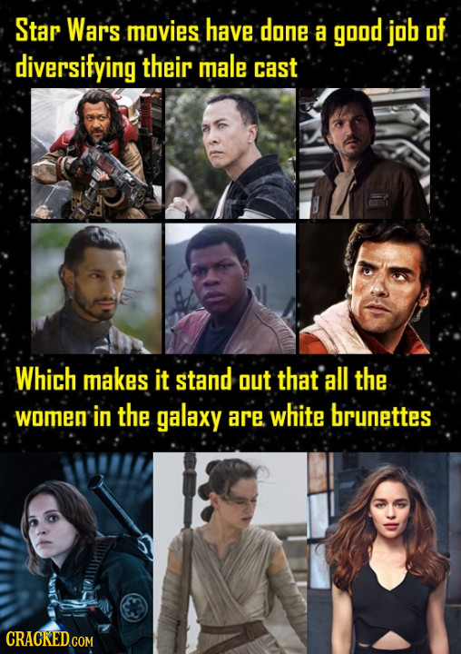 Star Wars movies have done a good job of diversifying their male cast Which makes it stand out that all the women in the galaxy are white brunettes CR
