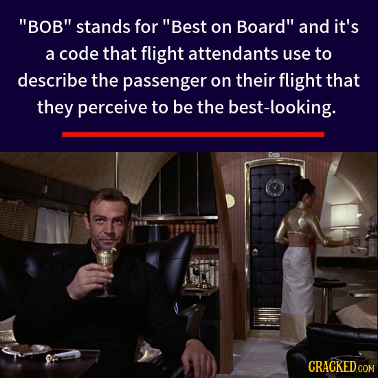 BOB stands for Best on Board and it's a code that flight attendants use to describe the passenger on their flight that they perceive to be the bes