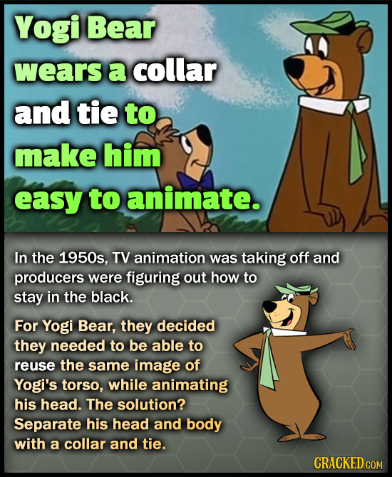 Yogi Bear wears a collar and tie to make him easy to animate. In the 1950s, TV animation was taking off and producers were figuring out how to stay in