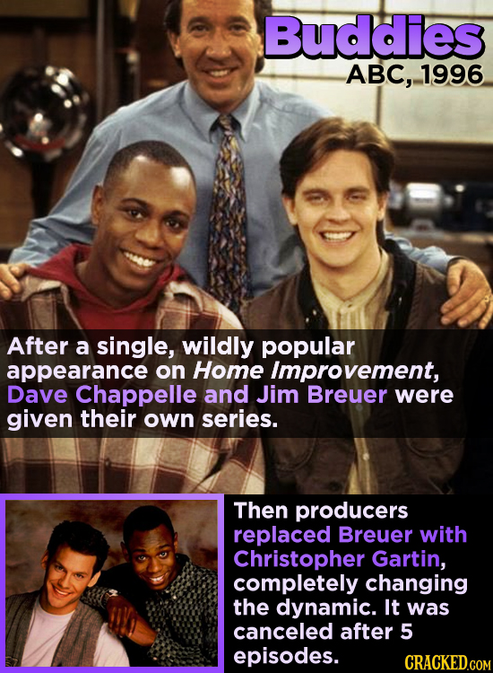 Buddies ABC, 1996 After a single, wildly popular appearance on Home Improvement, Dave Chappelle and Jim Breuer were given their own series. Then produ