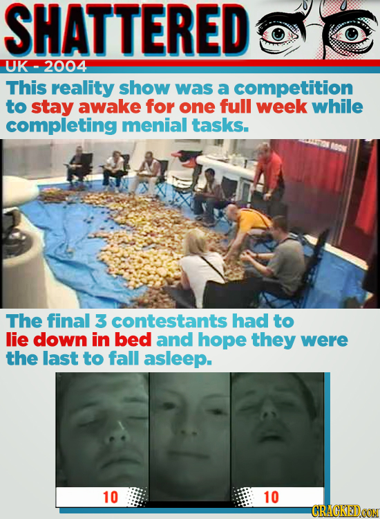SHATTERED UK 2004 This reality show was a competition to stay awake for one full week while completing menial tasks. The final 3 contestants had to li