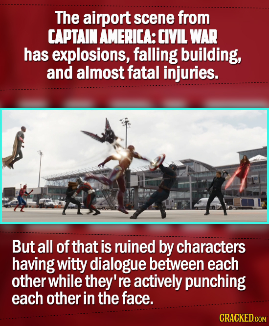 The airport scene from CAPTAIN AMERICA: CIVIL WAR has explosions, falling building, and almost fatal injuries. But all of that is ruined by characters