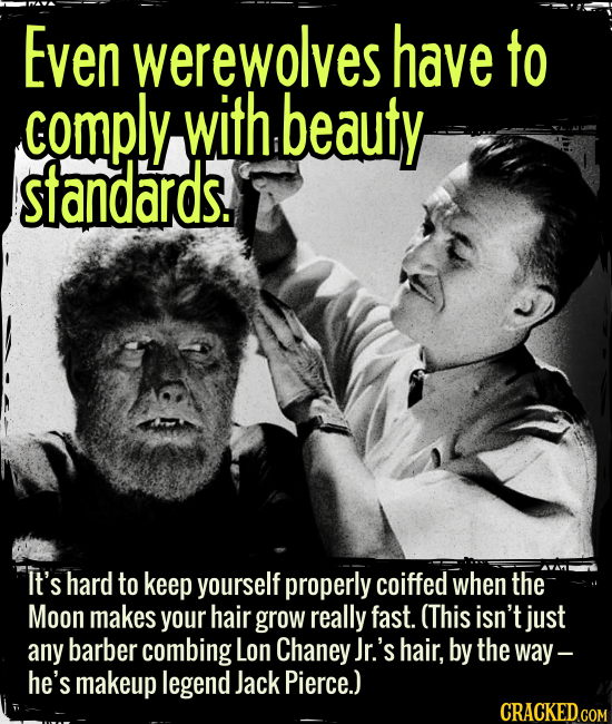 Even werewolves have to comply with beauty standards. - It's hard to keep yourself well coiffed when the Moon makes your hair grow really fast. (This