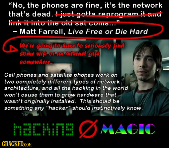 No, the phones are fine, it's the network that's dead. jat sotta reproaram it anrd im i imio Lite oiu Sal C011S... ~ Matt Farrell, Live Free or Die H