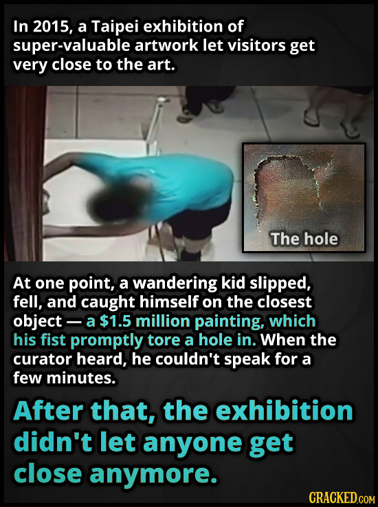 In 2015, a Taipei exhibition of super-valuable artwork let visitors get very close to the art. The hole At one point, a wandering kid slipped, fell, a