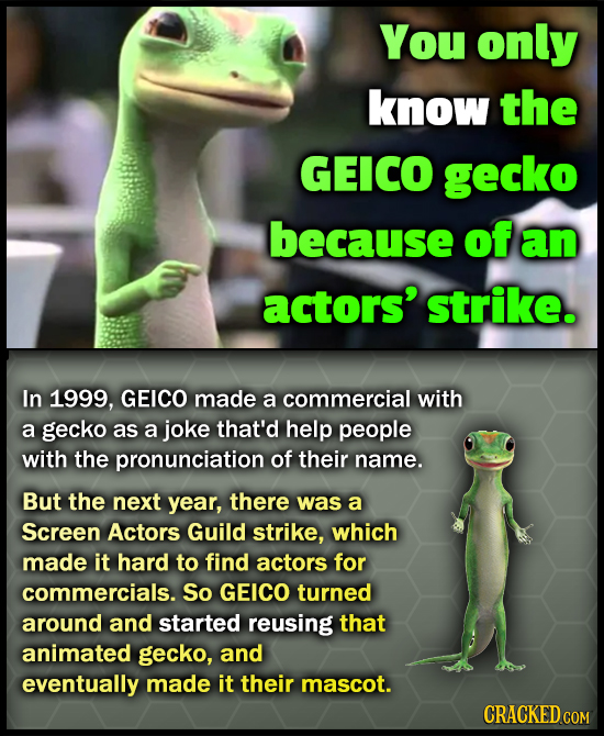 You only know the GEICO gecko because of an actors' strike. In 1999, GEICO made a commercial with a gecko as a joke that'd help people with the pronun