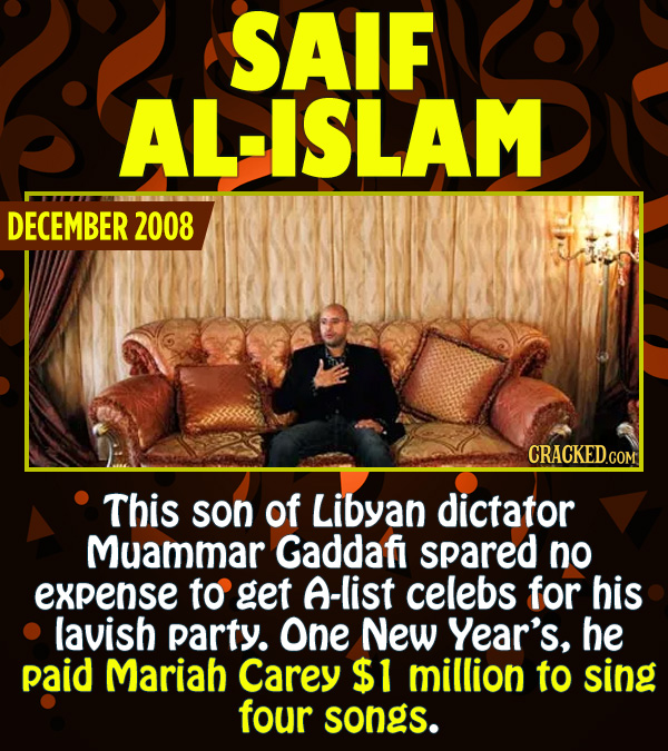 15 Epic Feats of Partying by Famous People - This son of Libyan dictator Muammar Qaddafi spared no expense to get A-list celebs for his lavish party.