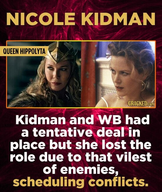 NICOLE KIDMAN QUEEN HIPPOLYTA CRACKED COM Kidman and WB had a tentative deal in place but she lost the role due to that vilest of enemies, scheduling