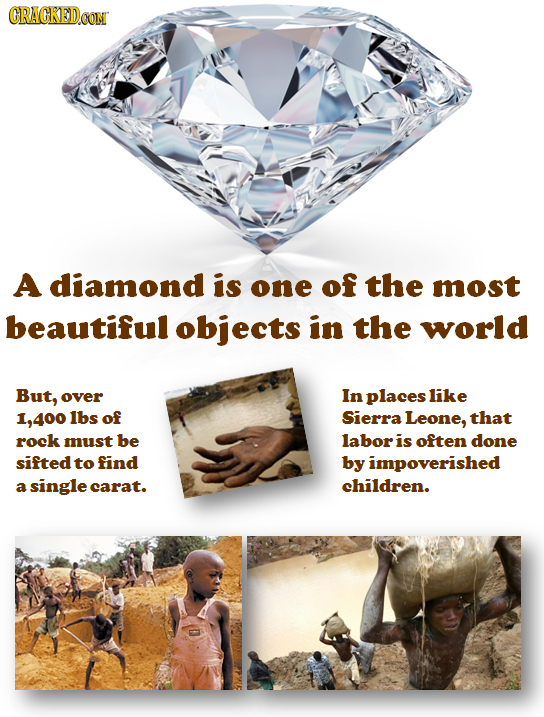 GRAGKEDCON A diamond iS one of the most beautiful objects in the world But, over In places like 1,400 lbs of Sierra Leone, that rock must be labor is