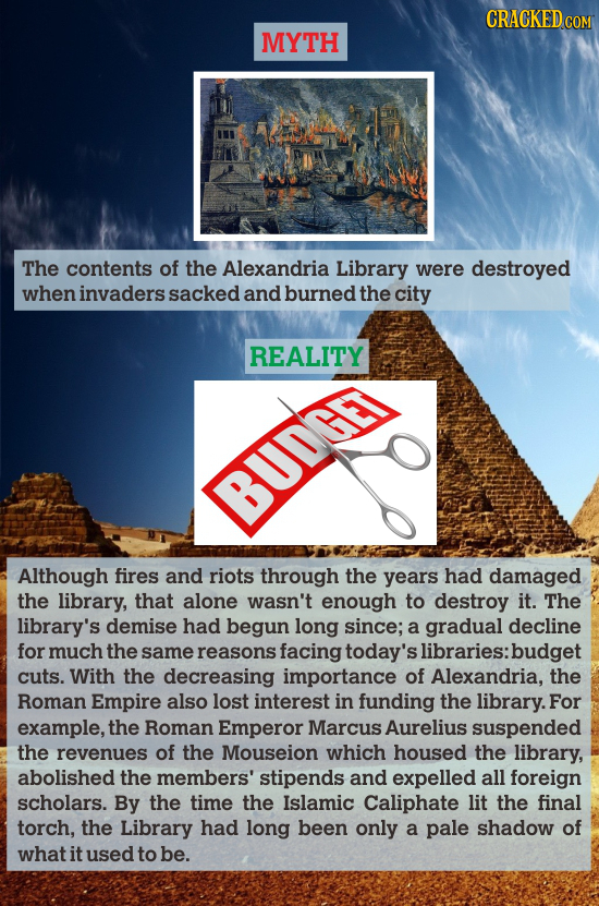 CRACKED COM MYTH The contents of the Alexandria Library were destroyed when invaders sacked and burned the city REALITY BUDGE Although fires and riots