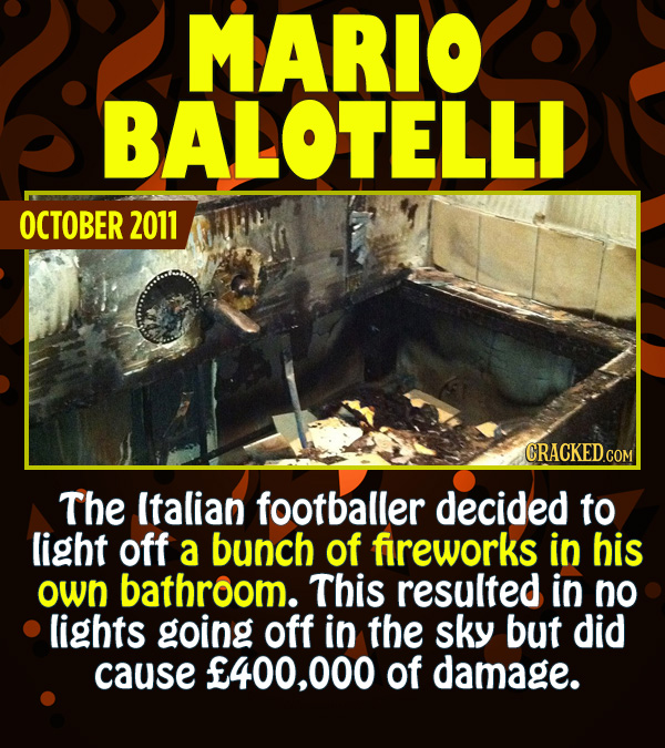 15 Epic Feats of Partying by Famous People - The Italian footballer decided to light off a bunch of fireworks in his own bathroom. This resulted in to