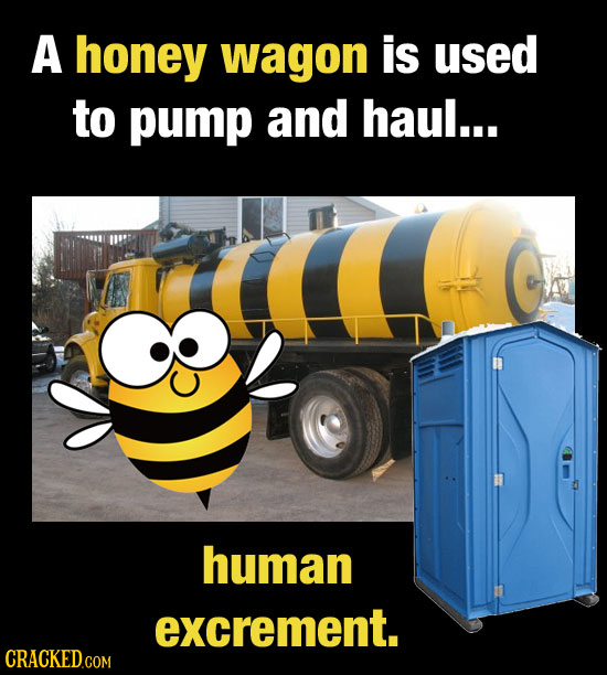 A honey wagon is used to pump and haul... human excrement.