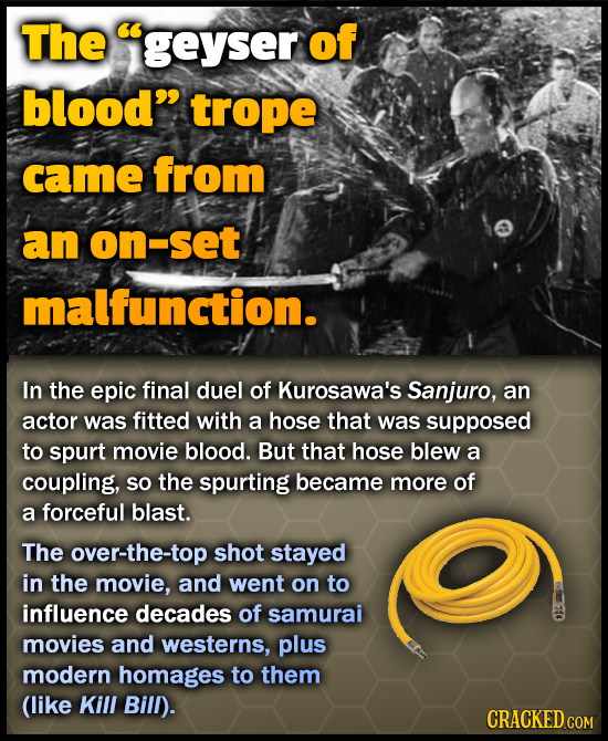 The geyser of blood trope came from an on-set malfunction. In the epic final duel of Kurosawa's Sanjuro, an actor was fitted with a hose that was su