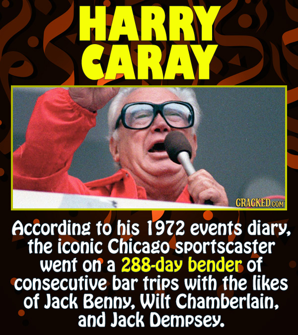 15 Epic Feats of Partying by Famous People - According to his 1972 events diary, the iconic Chicago sportscaster went on a 288-day bender of consecuti