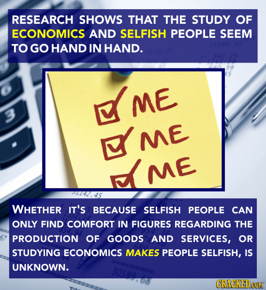 RESEARCH SHOWS THAT THE STUDY OF ECONOMICS AND SELFISH PEOPLE SEEM TO GO HAND IN HAND. ME 3 ME ME WHETHER IT'S BECAUSE SELFISH PEOPLE CAN ONLY FIND CO