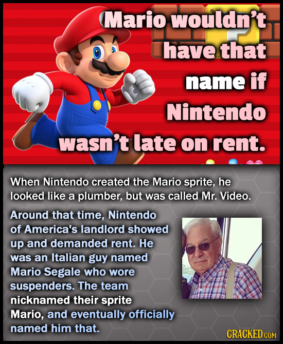 Mario wouldn't have that name if Nintendo wasn't late on rent. When Nintendo created the Mario sprite, he looked like a plumber, but was called Mr. Vi