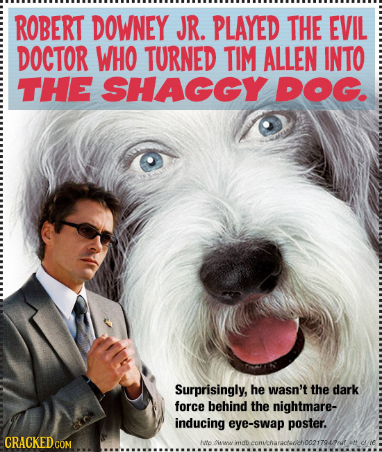 ROBERT DOWNEY JR. PLAYED THE EVIL DOCTOR WHO TURNED TIM ALLEN INTO THE SHAGGY DOG. Surprisingly, he wasn't the dark force behind the nightmare- induci