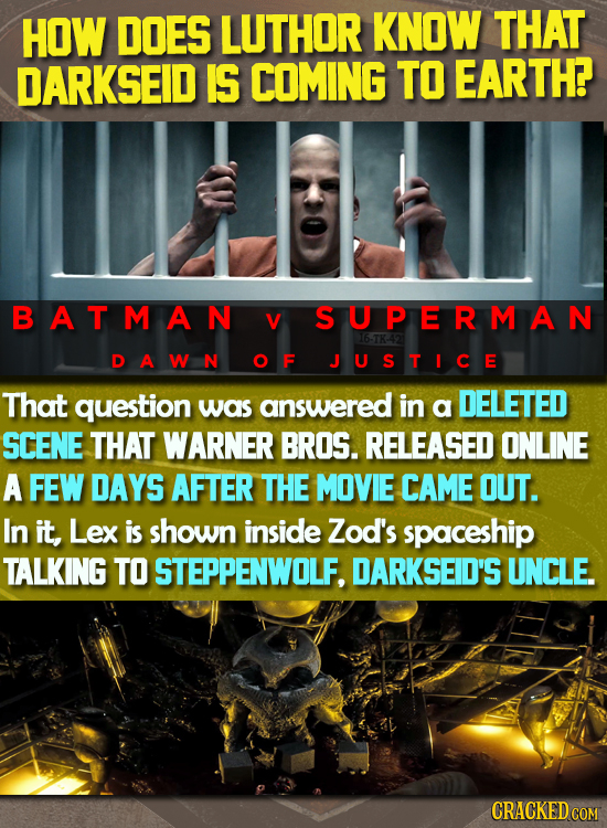 HOW DOES LUTHOR KNOW THAT DARKSEID IS COMING TO EARTH? BATMAN V S U PERMAN 165K42 D A WmN OF JUSTICE That question was answered in a DELETED SCENE THA